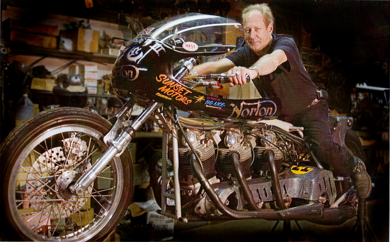T.C. Christenson, world recored holder on the Hogslayer 3.  Photo form Basem Wasef's book : Legendary Motorcycles.