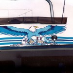 Hand painted Eagle and graphics.
