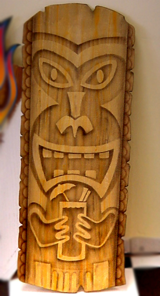"This ""Happy Tiki"" was also airbrushed on plywood."