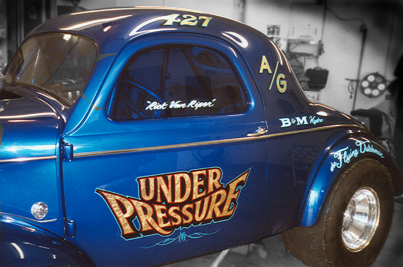 Period correct lettering style done in gold leaf on this all steel gasser.