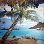 This wall mural was done for a clients home Tiki bar.