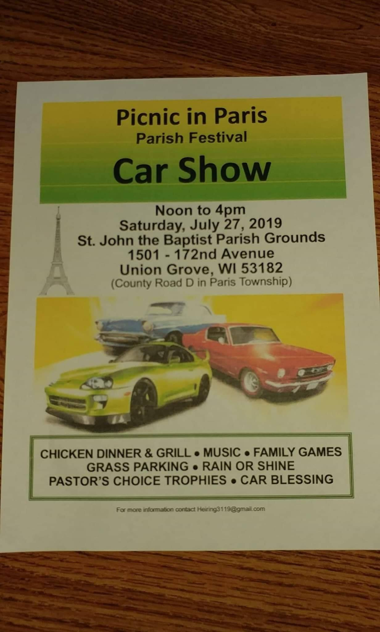Picnic in Paris Car Show @ St. John the Baptist Parish Grounds