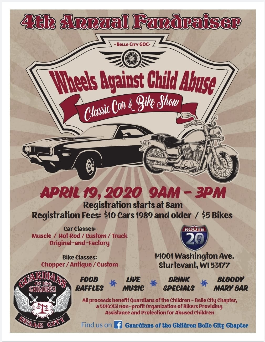 Wheels Against Child Abuse @ Route 20