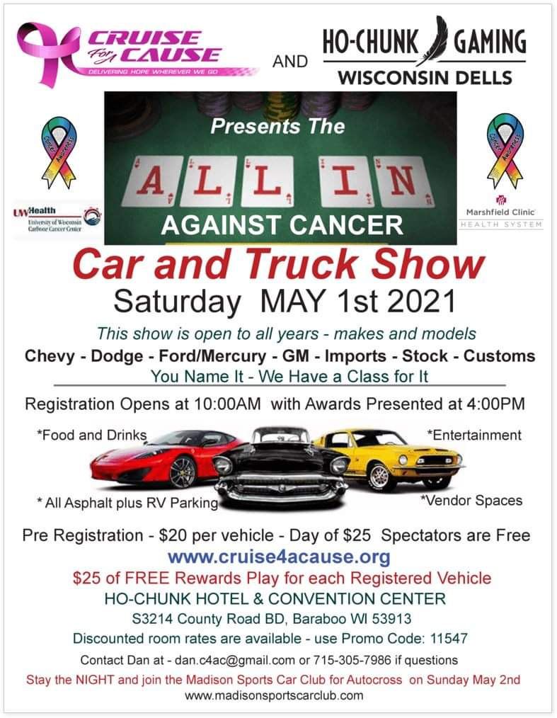 ALL IN AGAINST CANCER CAR & TRUCK SHOW @ HO-CHUNK GAMING